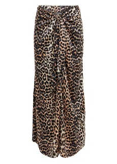 Ganni Animal Print Knot Skirt