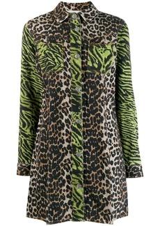 Ganni animal print shirt dress