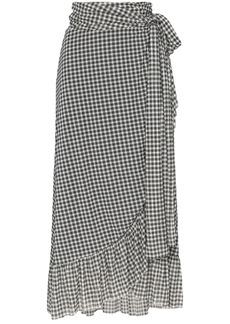 Ganni asymmetric gingham midi skirt