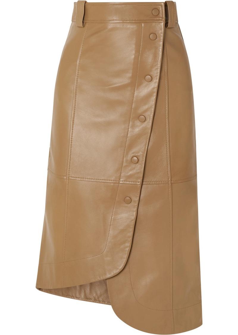 Ganni Asymmetric Leather Wrap Skirt