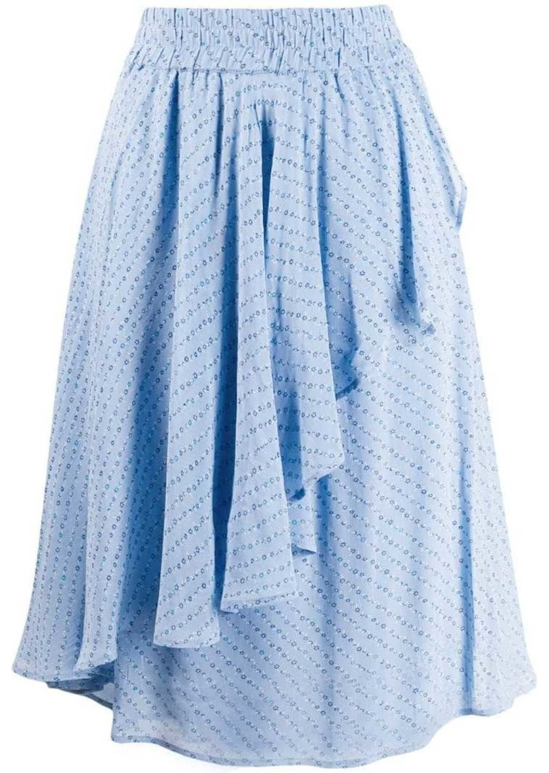 Ganni asymmetric ruffled skirt