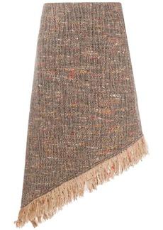 Ganni asymmetric woven skirt