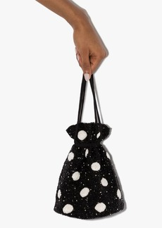 Ganni beaded polka-dot bucket bag