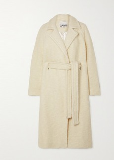 Ganni Belted Double-breasted Wool-blend Bouclé Coat