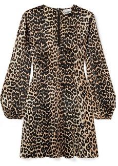 Ganni Leopard-print Silk-blend Satin Mini Dress