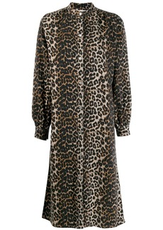 Ganni boxy leopard print shirt dress