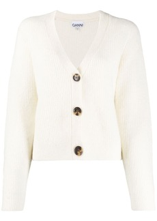 Ganni button-front cropped cardigan