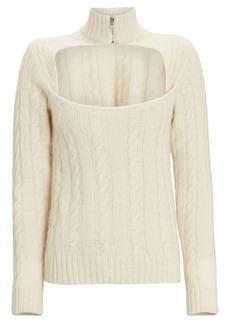 Ganni Cable Knit Keyhole Alpaca Sweater