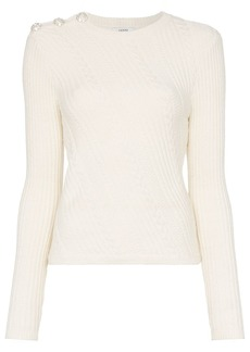 Ganni cable-knit top