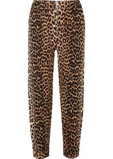 Ganni Camberwell leopard-print linen-blend canvas tapered pants