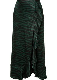 Ganni Ruffled Printed Satin Wrap-effect Skirt