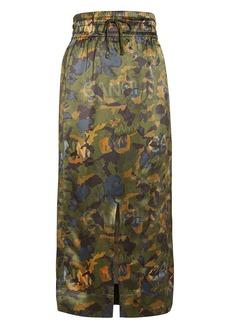 Ganni Camouflage Heavy Satin Skirt