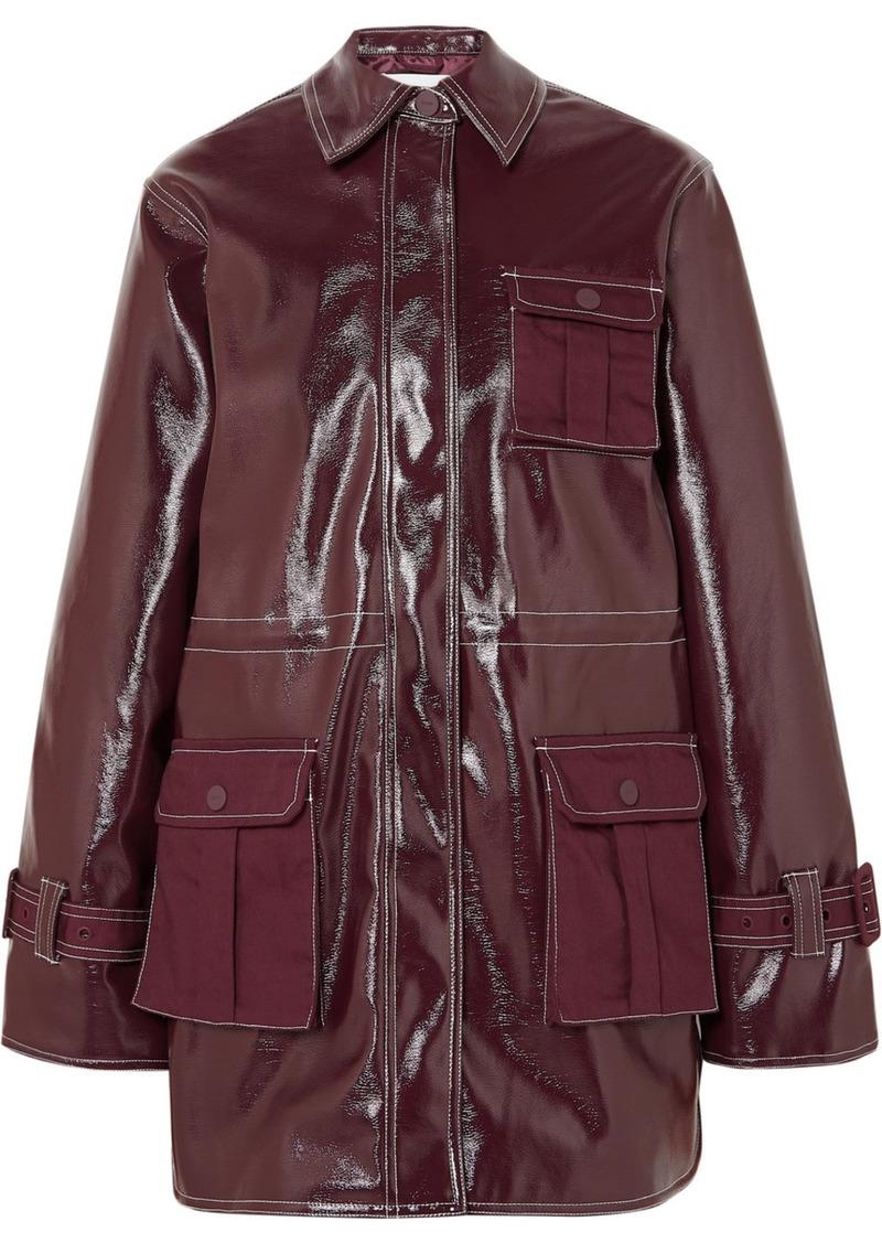 Ganni Canvas-paneled Faux Patent-leather Jacket