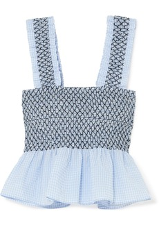 Ganni Charron Shirred Gingham Cotton-blend Seersucker Top