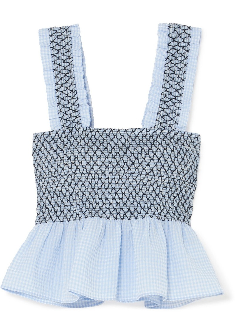 916d52324dbf Ganni Shirred Gingham Cotton-blend Seersucker Top | Casual Shirts