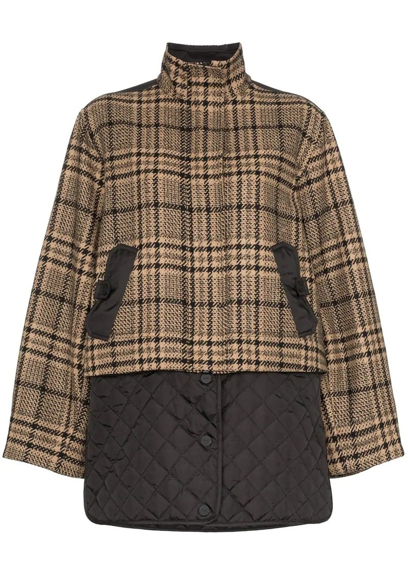 Ganni check panel quilted coat