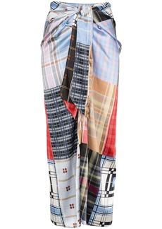 Ganni check patchwork skirt