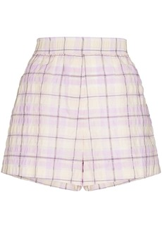 Ganni check-pattern elasticated-waist shorts