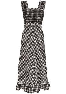 Ganni check print ruched dress