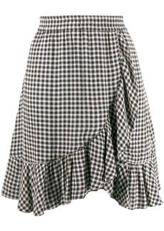 Ganni check print skirt