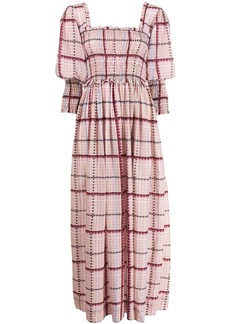 Ganni check ruched maxi dress