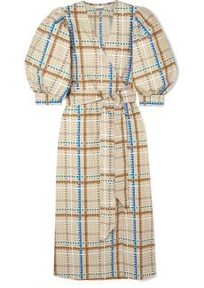 Ganni Checked Cotton-poplin Wrap Dress