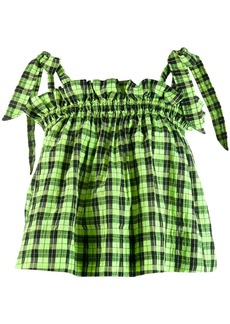 Ganni checked ruffle top