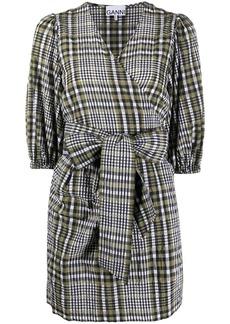 Ganni checkered bow-embellished mini dress