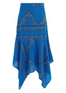 Ganni Sandwashed Print Silk Skirt