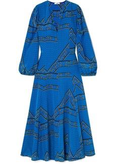 Ganni Printed Silk Crepe De Chine Maxi Dress