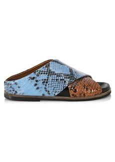 Ganni Colorblock Snakekin-Embossed Leather Slides