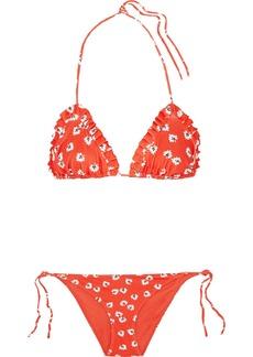Ganni Columbine Ruffled Printed Triangle Bikini