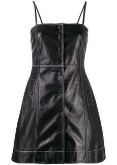 Ganni contrast stitching leather mini dress