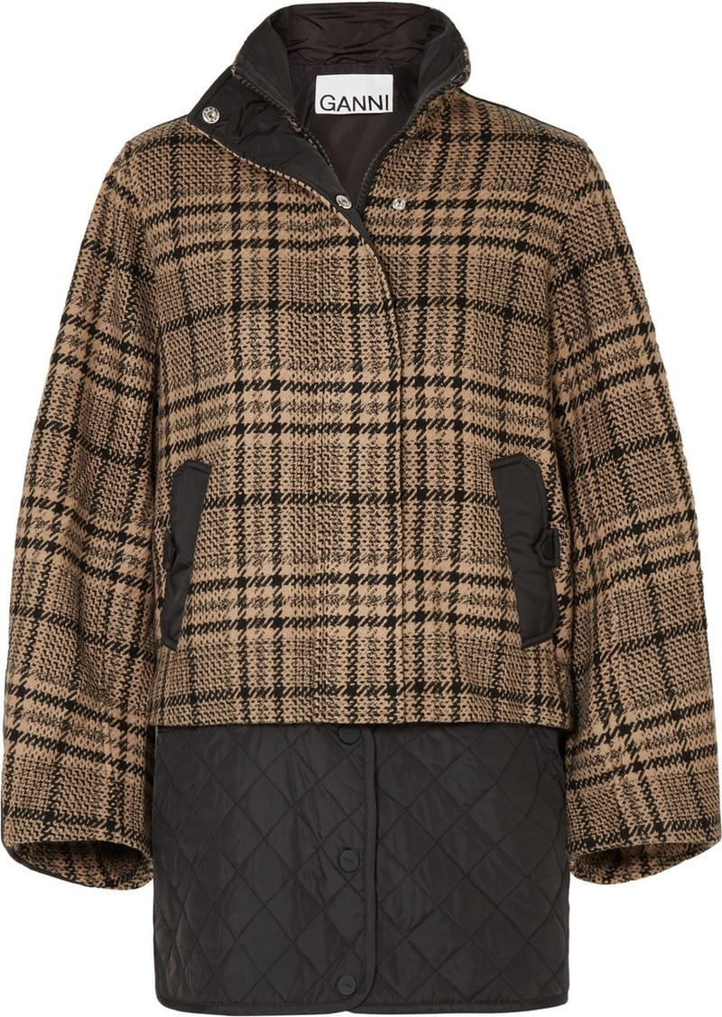 Ganni Convertible Checked Wool-blend And Quilted Shell Jacket