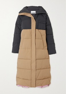 Ganni Convertible Color-block Quilted Padded Shell Coat