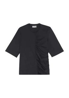 Ganni Cotton Jersey Ruched T-Shirt