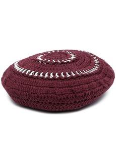 Ganni crochet knit beret