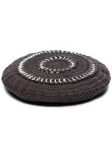 Ganni crochet-knit cotton beret