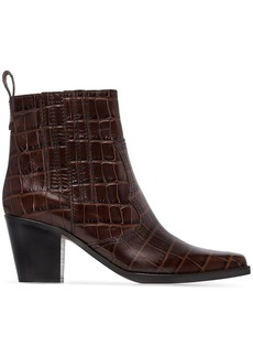 Ganni crocodile effect 75mm western ankle boots