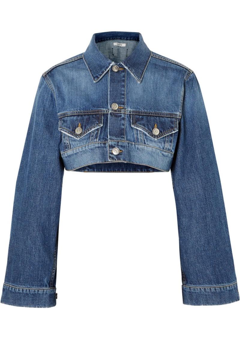 43b1af9be64 Ganni Cropped denim jacket Now $253.00