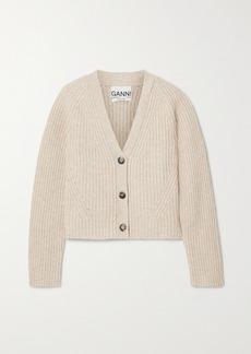 Ganni Cropped Ribbed Wool-blend Cardigan