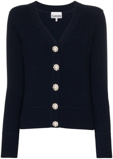 Ganni crystal button-embellished cardigan
