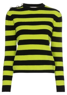 Ganni crystal button striped sweater