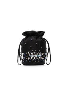 Ganni crystal-embellished drawstring bucket bag