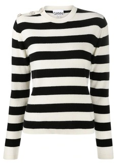 Ganni crystal-embellished striped jumper