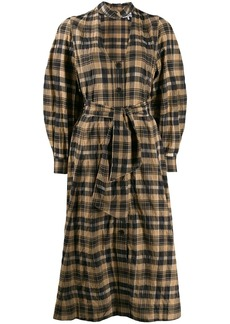 Ganni cut out check shirt dress