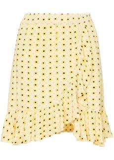 Ganni daisy print wrap skirt