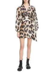 Ganni Leopard Print Long Sleeve Linen & Silk Wrap Dress