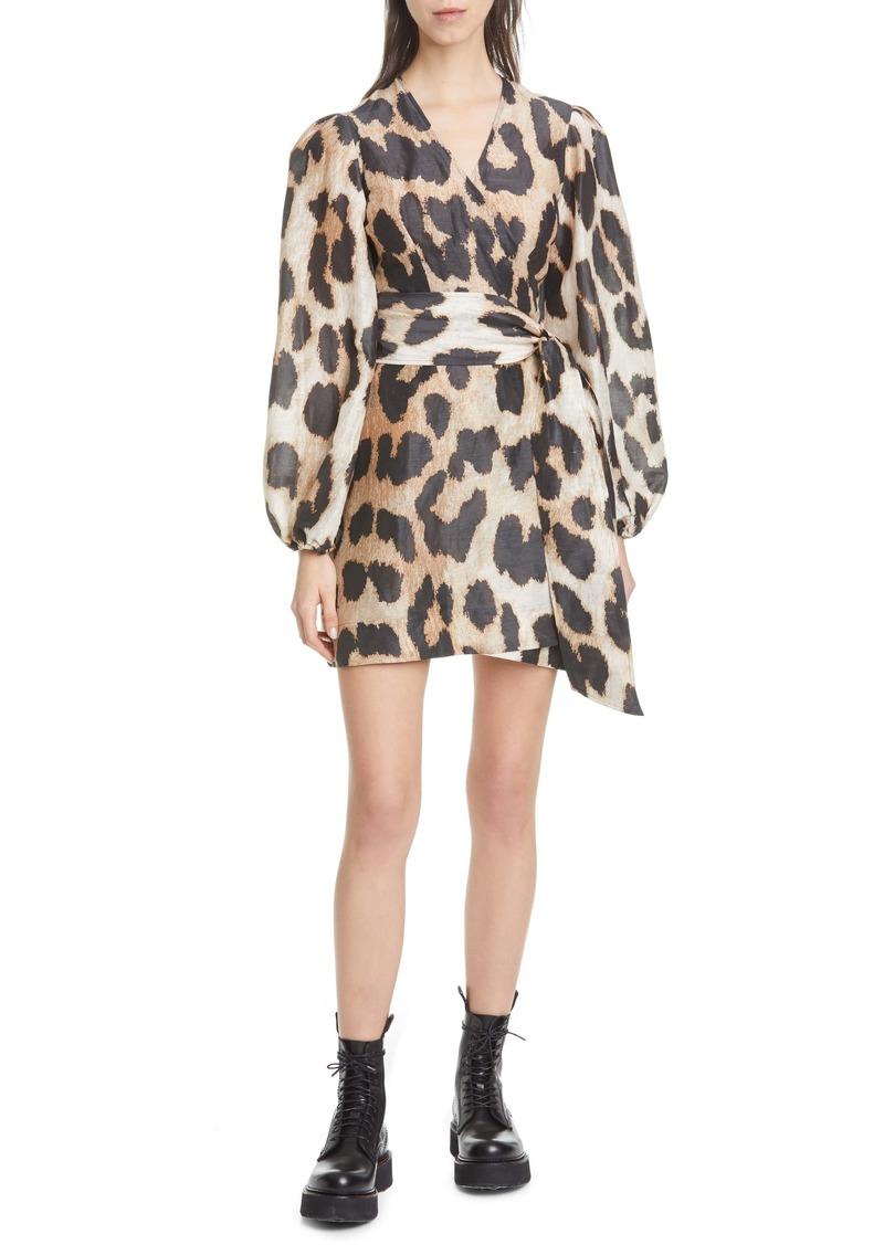 Ganni Leopard Print Long Sleeve Linen & Silk Wrap Dress