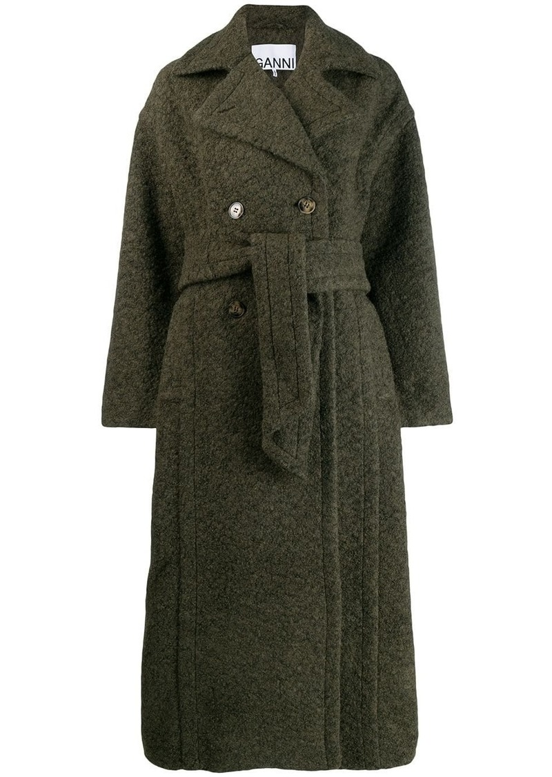 Ganni double-breasted belted coat